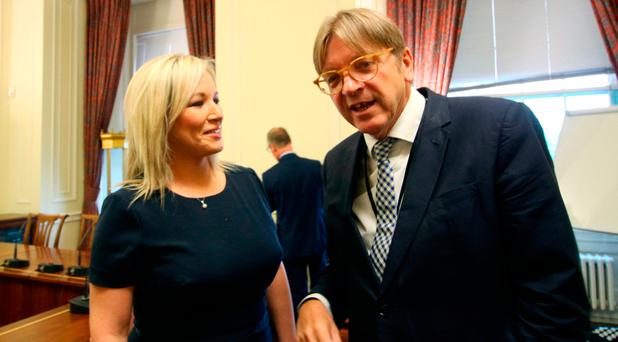 Handout photo issued by Sinn Fein of Michelle O'Neill with the European Parliament's chief Brexit negotiator Guy Verhofstadt at Stormont in Belfast: Sinn Fein/PA Wire