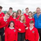 (front row from left) Chantelle Prendergast, Emilie Finn and Micahel Concannon. (back row from left) Darragh Leahy, Mikie Ryan, James O'Flynn, Amie Brett, Erin Lally, Fiachra O'Cuinn, Beibhinn ni Bhuaigh ad Martin O'Goill from Inis Meain at the 2017 National Ploughing Championships in Screggan, Tullamore, Co Offaly. Pic:Mark Condren