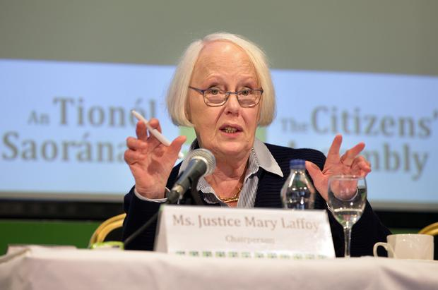 Justice Mary Laffoy, Chairperson, answers questions from the floor at The Citizens' Assembly