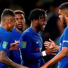 Chelsea's Michy Batshuayi celebrates scoring their fifth goal with team mates