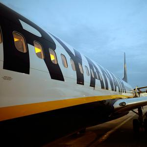 A Ryanair flight is seen at Stansted Airport, London. Photo: REUTERS