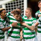 Celtic's James Forrest celebrates scoring his side's second goal