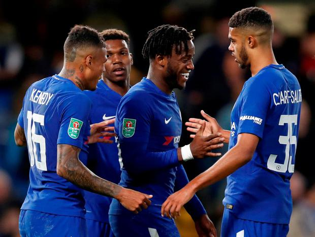 Chelsea's Michy Batshuayi celebrates scoring their fifth goal with team mates. Photo: Paul Childs/Action Images via Reuters
