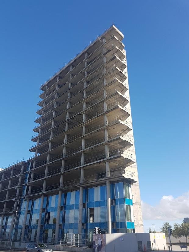 The Sentinel building in Sandyford Business District in south Dublin has lain idle for a decade. Inset, Shane Ross who has objected to plans relating to its development