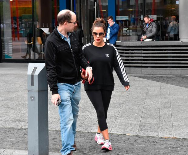 Caroline Flack arrives at Bord Gais Energy Theatre where she is starring in Crazy For You. Picture: Cathal Burke / VIPIRELAND.COM