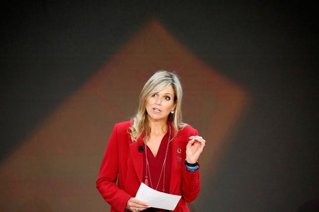 Queen Maxima of the Netherlands speaks at the Bill and Melinda Gates Foundation Goalkeepers event in Manhattan, New York, U.S., September 20, 2017. REUTERS/Elizabeth Shafiroff