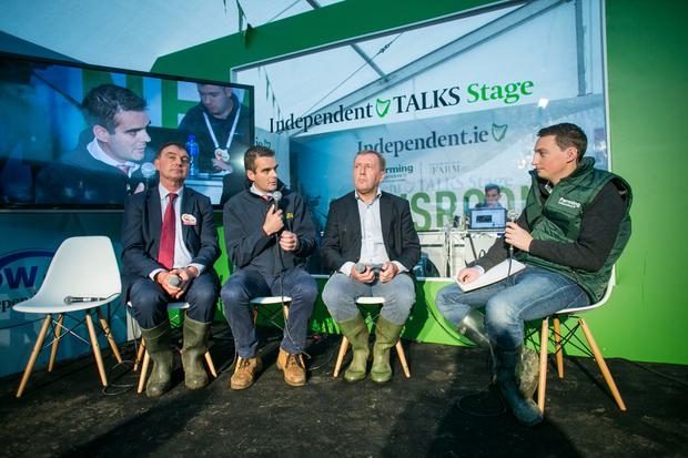 President of the ICMSA John Comer, Joe Healy President of The IFA with Minister for Agriculture Michael Creed TD chatting to Kevin Doyle at the Ploughing Championships in 2017