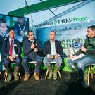 From left, President of the ICMSA John Comer, Joe Healy President of The IFA with Minister for Agriculture Michael Creed TD chatting to Kevin Doyle at the Ploughing Championships