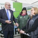 European Commissioner Phil Hogan chatting with ,Anna Marie Mc Hugh Ploughing Champ and Margareth Donnelly Farm Ireland in the Independent Tent at the Ploughing Championships 2017 in Screggan Co Offaly