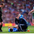 Jack McCaffrey of Dublin is treated for an injury during the GAA Football All-Ireland Senior Championship Final match between Dublin and Mayo at Croke Park in Dublin. Photo by Stephen McCarthy/Sportsfile