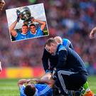 Jack McCaffrey treated for injury during final and (inset) Bernard Brogan lists Sam with Paul Flynn