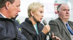 Solicitor Karen Walsh with Jer Bergin, IFA and Seamus Sherlock, ICSA chatting with Paul Williams on Rural Crime in the Independent Tent at the Ploughing in Screggan.