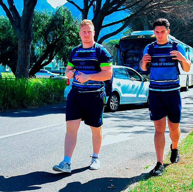 James Tracy with Joey Carbery arriving for training in Bishop's College after touching down in Cape Town. Photo by Grant Pitcher/Sportsfile