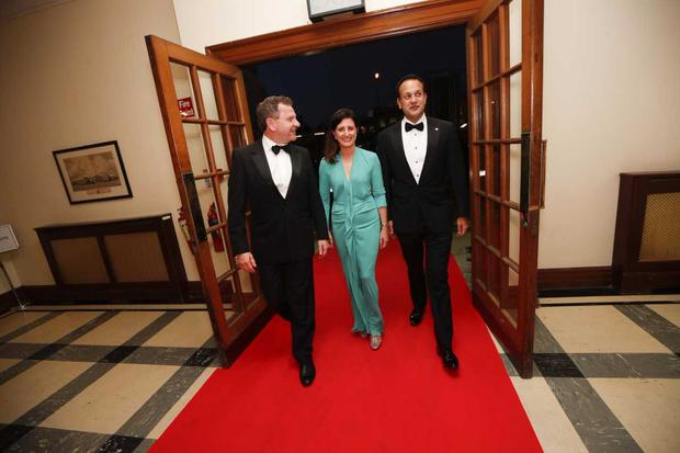 Danny McCoy, CEO, Ibec with new Ibec President Edel Creely of Trilogy Technologies and An Taoiseach Leo Varadkar at the Ibec's annual President's Dinner at the RDS.