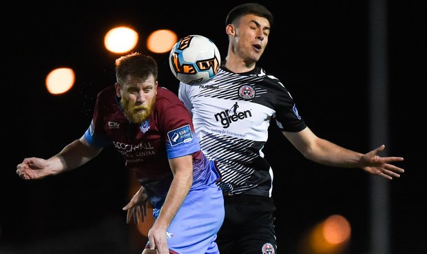 Drogheda United's Chris Mulhall (l) is challenged by Bohemians' Warren during their SSE Airtricity League Premier Division match at United Park last week. Photo: Sportsfile