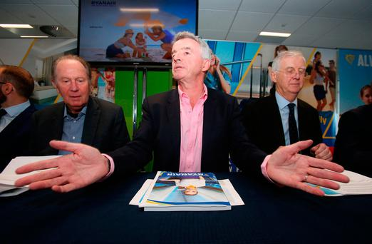 Michael O'Leary addresses shareholders ahead of yesterday's Ryanair annual general meeting. Picture: PA