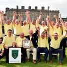 Thurles Golf Club captain John Gleeson with Jimmy Ryan (team captain) and Joe Kerrigan (team vice-captain) celebrating with team members after their victory in the final of the AIG Pierce Purcell Shield at Carton House. Picture by Pat Cashman