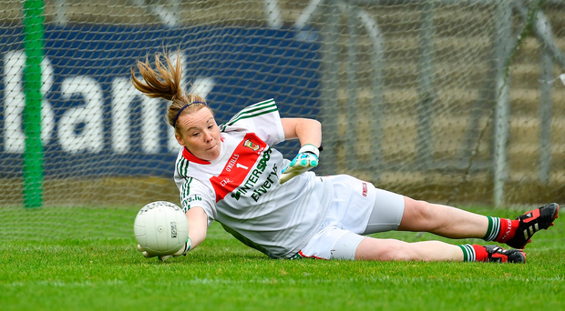 Mayo 'keeper Yvonne Byrne saves a penalty against Cork in the semi-final. Photo by Sam Barnes/Sportsfile