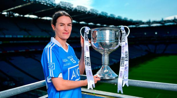 Dublin captain Sinéad Aherne will be hoping to get her hands on the Brendan Martin Cup after tomorrow's All-Ireland final clash with Mayo. Photo by Ramsey Cardy/Sportsfile