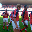 Devastated Munster players leave the pitch at Lansdowne Road in 2004 having been beaten by Wasps in the Heineken Cup semi-final. Picture credit; Brendan Moran / Sportsfile