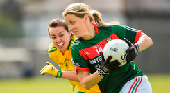 Staunton of Mayo in action during the 2017 TG4 Ladies Football All-Ireland Senior Championship Quarter-Final match between Donegal and Mayo. Photo by Matt Browne/Sportsfile