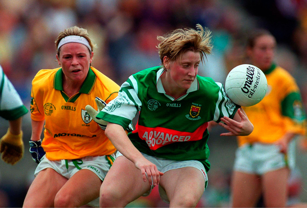 Staunton in action against Deborah Mangan during the 1999 Mayo v Meath Ladies Football Semi Final. Picture credit; Ray Lohan/Sportsfile