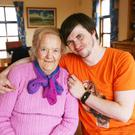 Caomhan Keane with his grandmother Delia Hernon in Áras Rónáin, Inis Mór Pic: Brian Farrell