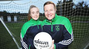 Sports presenter Darragh Maloney and his daughter Hannah at a training session