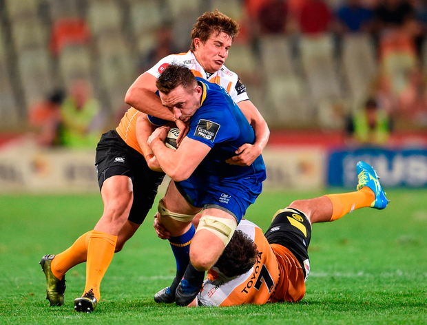 Jack Conan of Leinster is tackled by William Small-Smith of the Toyota Cheetahs. Photo by Johan Pretorius/Sportsfile