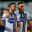 Michael Duffy, left, of Dundalk is congratulated by teammate Dylan Connolly after scoring his side's third goal during the SSE Airtricity League Premier Division match between Dundalk and Drogheda United at Oriel Park in Louth. Photo by Seb Daly/Sportsfile