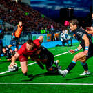 Rory Scannell scores a try for Munster against Glasgow at Scotstoun last night. Photo by Rob Casey/Sportsfile