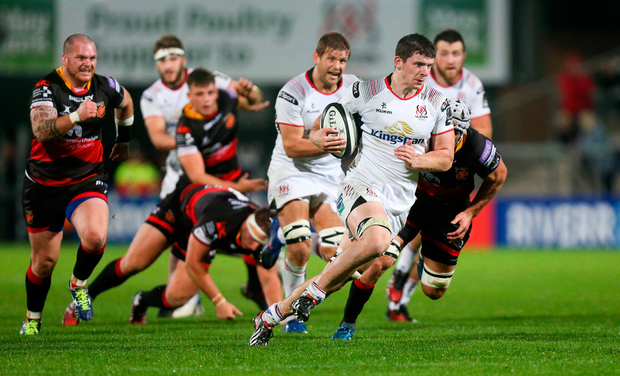 Nick Timoney of Ulster goes over to score his second try. Photo by John Dickson/Sportsfile