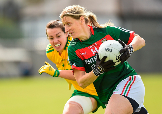 The great Cora Staunton of Mayo in action against Donegal's Nicole McLaughlin during the TG4 Ladies Football All-Ireland Senior Championship quarter-final in Cusack Park last month. Photo by Matt Browne/Sportsfile