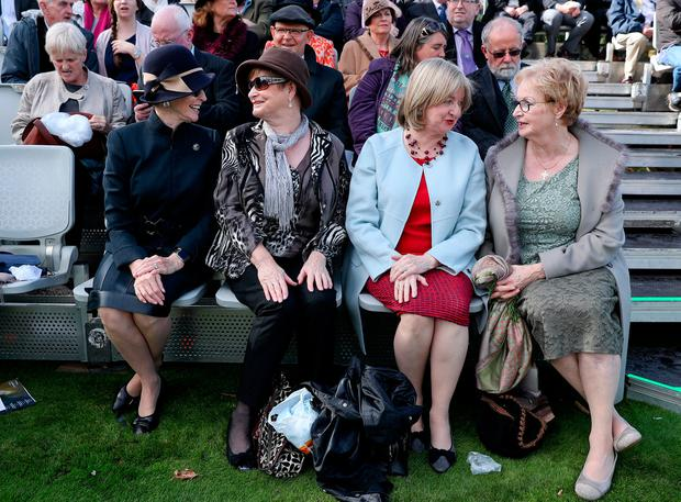 The grand-nieces of Thomas Ashe – Joanna De Pinto, Mary Harrington, Elizabeth Berkery and Nuala Douglas Mark – at the ceremony marking the centenary of his death at Glasnevin. Picture: Maxwells
