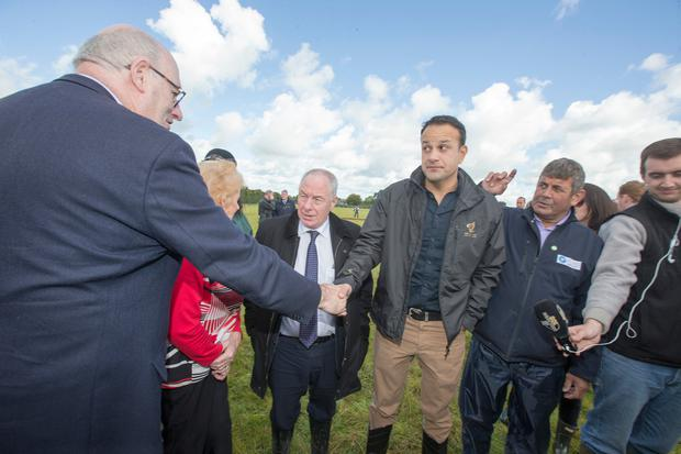 Taoiseach Leo Varadkar with European Commissioner Phil Hogan at the Ploughing Championships in Offaly this week. Photo: Mark Condren
