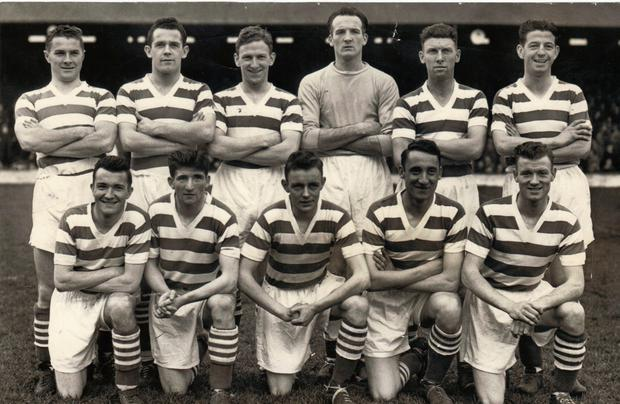 A photograph from the Shamrock Rovers team of the 1957/58 season – Back row, left to right: Liam Hennessy, Gerry Mackey, Ronnie Nolan, Eamonn D'arcy, Paddy Coad, Shay Keogh. Front row, left to right: Jimmy 'Maxie' McCann, Noel Peyton, Leo O'Reilly, Tommy Hamilton, Liam Tuohy