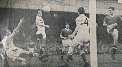Eamonn D'arcy's old newspaper cutting of Liam Whelan (right) heading the ball past him for Rovers' third goal