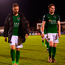 Greg Bolger (left) and Kieran Sadlier all alone with their thoughts as they leave the pitch at the Markets Fields after Cork city's defeat by Limerick Photo: Sportsfile