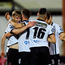 Steven Kinsella, left, of Dundalk celebrates with teammates after scoring his side's first goal Photo: Sportsfile