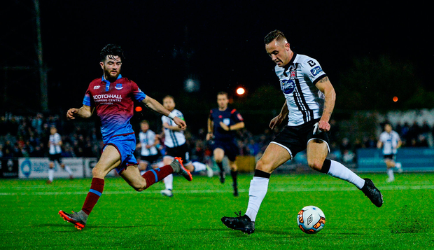 Dylan Connolly of Dundalk in action against Colm Deasy of Drogheda United during the SSE Airtricity League Premier Division match between Dundalk and Drogheda United at Oriel Park in Louth. Photo: Seb Daly/Sportsfile