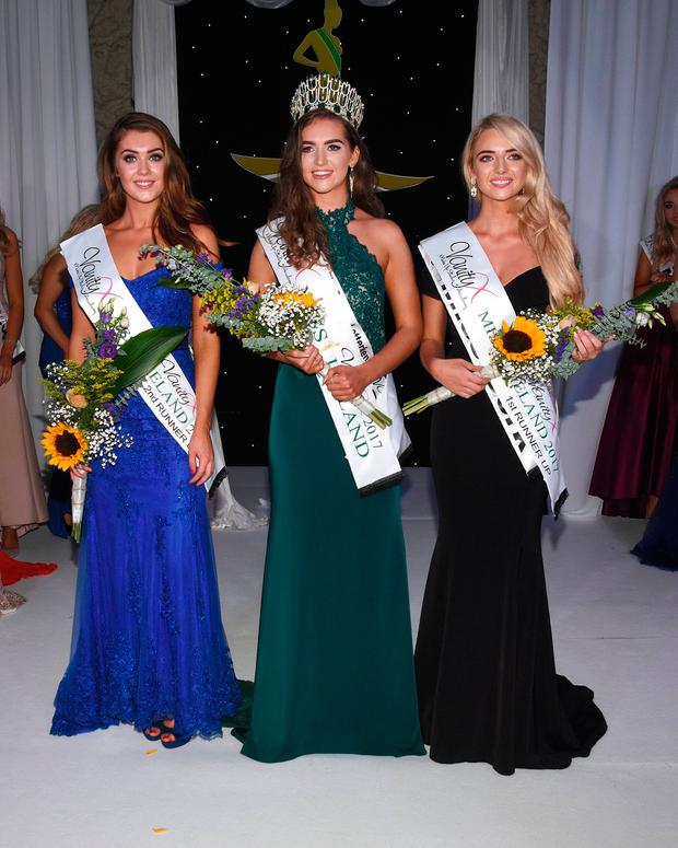Miss Donegal Lauren McDonagh is crowned Miss Ireland 2017 with runners-up Miss Cork Tara O'Leary and Miss Dublin North Vanessa Boland at Crowne Plaza Hotel