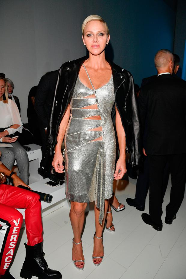 Princess Charlene Of Monaco Dazzles In Sparkling Metallic Cut Out Gown In Milan