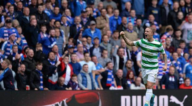 GLASGOW, SCOTLAND - SEPTEMBER 23: Leigh Griffiths of Celtic celebrates scoring his sides second goal during the Ladbrokes Scottish Premiership match between Rangers and Celtic at Ibrox Stadium on September 23, 2017 in Glasgow, Scotland. (Photo by Mark Runnacles/Getty Images)