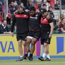 Billy Vunipola of Saracens goes off injured during the Aviva Premiership match between Saracens and Sale Sharks at Allianz Park on September 23, 2017 in Barnet, England. (Photo by Henry Browne/Getty Images)