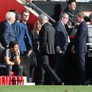 Manager Jose Mourinho of Manchester United is sent off during the Premier League match between Southampton and Manchester United at St Mary's Stadium on September 23, 2017 in Southampton, England. (Photo by John Peters/Man Utd via Getty Images)