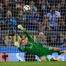 Simon Mignolet of Liverpool saves Jamie Vardy of Leicester City (not pictured) penalty during the Premier League match between Leicester City and Liverpool at The King Power Stadium on September 23, 2017 in Leicester, England. (Photo by Laurence Griffiths/Getty Images)