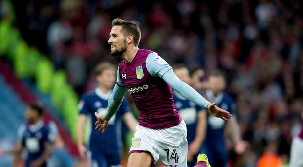 Conor Hourihane of Aston Villa scores for Aston Villa during the Sky Bet Championship match between Aston Villa and Nottingham Forest at Villa Park on September 23, 2017 in Birmingham, England. (Photo by Neville Williams/Aston Villa FC via Getty Images)