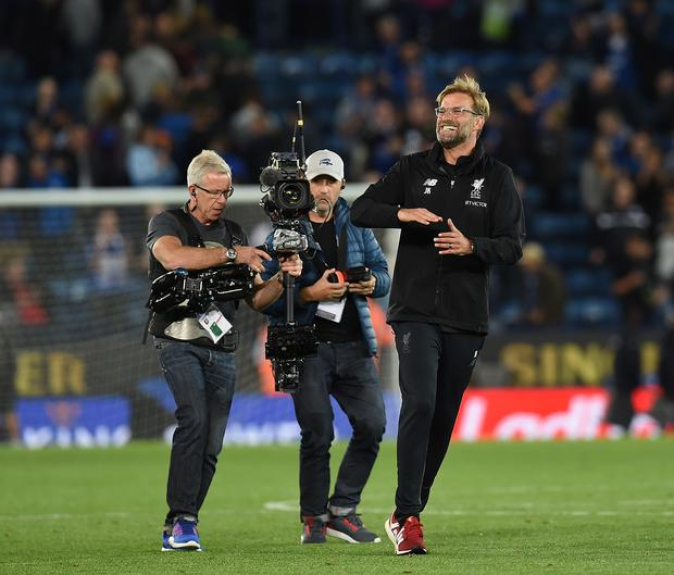 Jurgen Klopp Manager of Liverpool during the Premier League match between Leicester City and Liverpool at The King Power Stadium on September 23, 2017 in Leicester, England. (Photo by John Powell/Liverpool FC via Getty Images)