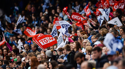 A general view of the record crowd during the Ladies Football All-Ireland Senior Football Championship Final match between Cork and Dublin at Croke Park in Dublin. Photo: Seb Daly/Sportsfile