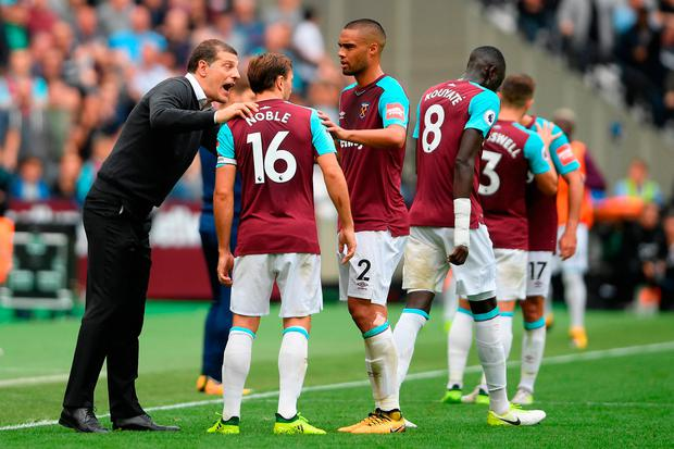 West Ham manager Slaven Bilic tries to rally the troops during the match. Photo: Getty